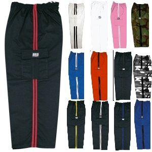 (Middleweight Karate and Martial Arts Cargo Pants Black and Red Size 2)