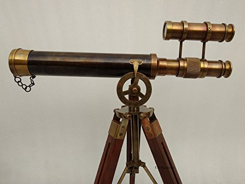 Double Barel Victorian London (1915) 14'' Brass Telescope on Tripode Stand Antique Home Decor Table Top. by US HANDICRAFTS (Image #1)