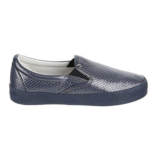 ItalDesign Damen Slipper Schuhe IR375 Halbschuhe Slipper Damen Grau swallner  b8e1e4