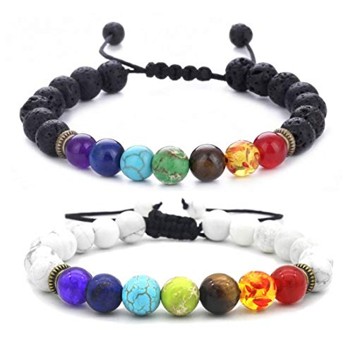 (Lava Stone Beaded Rock Bracelets for Women Men Natural Beads Aromatherapy Essential Oil Diffuser 7 Chakras Anxiety Bracelet 3687EG)