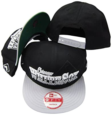 Chicago White Sox Black/Grey Two Tone Plastic Snapback Adjustable Plastic Snap Back Hat / Cap