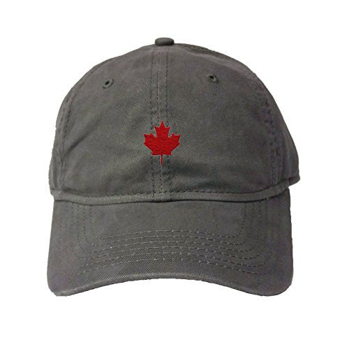 Adjustable Charcoal Adult Canada Maple Leaf Embroidered Deluxe Dad Hat ()