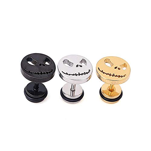 (3Pairs 16G Halloween Ghost Smiling Face Stud Earrings Men Women Screw Back Earrings Piercing)