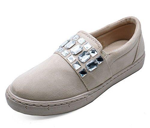Mujer Beige Plano Sin Cordones Libélula Color Zapatillas Informal Cómodo Mocasines Zapatillas Número 3-8 - Beige, 42 EU: Amazon.es: Zapatos y complementos