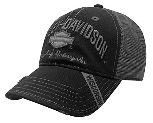 Harley-Davidson Men's Baseball Cap, H-D Bar & Shield Mesh Hat, Black BC51654 (Harley Ball Cap)
