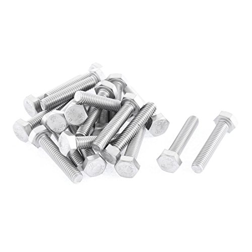 uxcell M6 x 30mm Fully Threaded Stainless Steel Hex Head Screw Bolt 20 Pcs