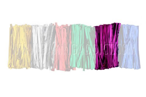 """Baking Addict Metallic Color Twist Ties for Pop Treat Party Favor Bags & More, 3"""" W, Pink, 100 Count"""