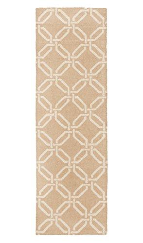 Stone & Beam Contemporary Interlocking Rings Wool Rug, 2'3'' x 7'6'', Beige by Stone & Beam