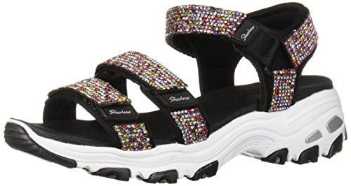 - Skechers Women's D'Lites - Bright Light - Multi Rhinestone Quarter Strap Sport Sandal Black, 5 M US