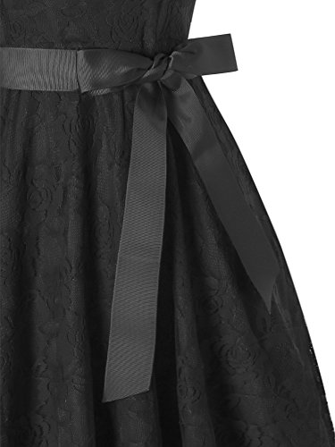 Vestido DYLH Lazo Boda Redondo y de Ceremonia Corto negro Fietsa de Eventos Fiesta para Redondo con de Cuello Mujer y Encaje Vestido Cóctel Manga Madrina Vestido V Sin Cuello rq6wgr