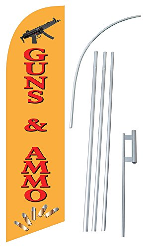 """Guns & Ammo"" 12-foot SUPER Swooper (Windless) Feather Flag With Heavy-Duty Anodized Aluminum 15-foot Pole and Ground Spike"