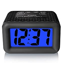 iCKER Large Display Smart Light Alarm Clock with Rubber Case and Snooze, Dimmer and Backlight, Battery Powered Travel Alarm Clock, Black