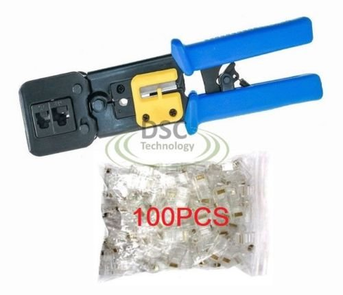 EZ-RJ45 Cat5e Cat6 Connector Crimping Tool End Pass Through Crimp Cutter with 100PCS Cat6 Connectors