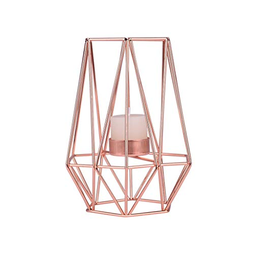 Quaanti Nordic Geometric Candle Holder Iron Hollow Tealights Candles Holders for Vintage Wedding Home Decoration Gold,Rose Gold (Rose Gold/3.7x3.7x6.9in)