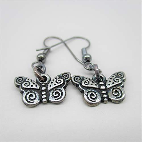Silver toned light Oxidized Butterfly Dangle Drop Earrings Summer Garden Jewelry
