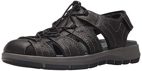 CLARKS Men's Brixby Cove Fisherman Sandal, Black Leather, 13 Medium US (Best Sandals For Guys)