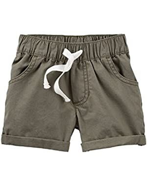 Carters Olive Woven Shorts - Baby Girls (3 Months)