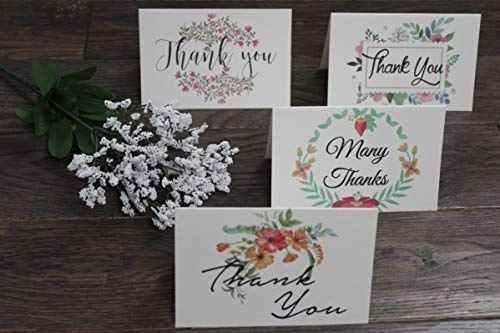 Thank You Cards Pack Of 100 - Blank Thank You Notes - Floral Water Colors - 4 X 6 Inches Thick White Note And Envelope - Personal And Business Use - Wedding And Baby Showers Photo #2