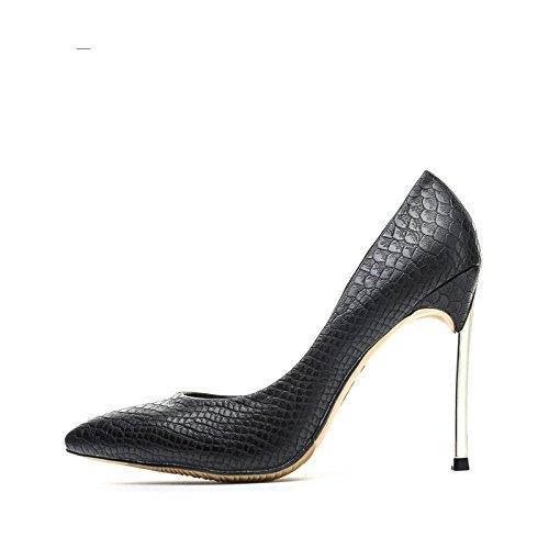8cm 10 Noire Talons Hauts Bout la métal Talons Noir avec High en Vivioo Hauts Décolleté à Stiletto Sexy Chaussures Confortable Mode Élégant 8cm pointu 12 sangle Womens Femme qYCnxnw