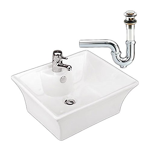 Newcastle Square Vitreous China Vessel Sink Bathroom Countertop With Drain And P-Trap (Counter Newcastle)