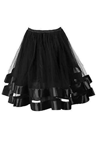 [Topdress Women's 1950s Tutu Short Petticoat Skirt Crinoline Underskirt Slip Black L/XL] (Plus Size Tutu Skirt)