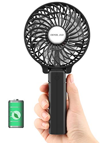(OPOLAR Hand Held Battery Operated Face Fan, Small Rechargeable Portable Travel Fan with 2200mAh Battery, Foldable, 3 Settings, Powerful Airflow, Ideal for Trip, Disney, Football Game Use - Black)