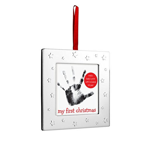 Santas Sleigh Maker (Lil' Peach Baby's Handprint Holiday Keepsake Ornament Set, Square, Silver)