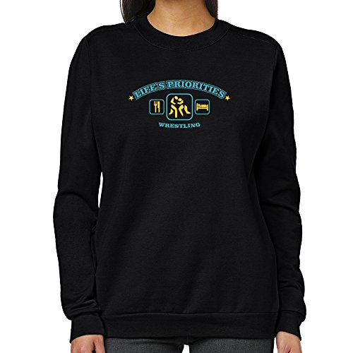 Teeburon Life's priorities Wrestling Women Sweatshirt by Teeburon
