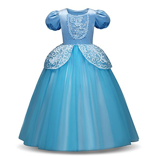 Yiwa Girl Delicate Lace Long Dress Elegant Lovely Fluffy Princess Dress for Halloween Show Blue 130cm -