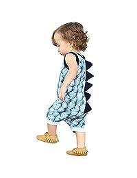 Sumen Newborn Baby Girl Boy Dinosaur Romper O-Neck Sleeveless Jumpsuit