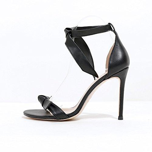 noir 10cm  VIVIOO talons hauts sandales à talons hauts d'été sauvage bout ouvert boucle mot talons hauts talons sandales