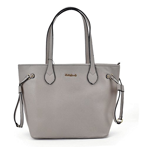 Women Quality With Leather Bag Pu Fashion Sally Young Grey Detail Metal High Tote xqCAEw