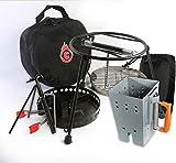 CampMaid All Tools Kit Lid Lifter, Flip Grill, Charcoal/Wood Holder Heat Source Kickstand, Chimney.