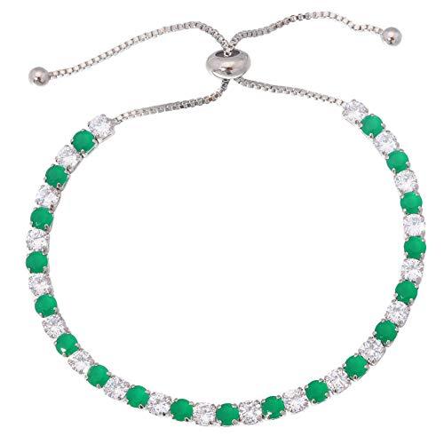 BIG- DEAL Ruby Sapphire Silver Women Jewelry Gems Adjustable Chain Bracelet (Emerald&White)
