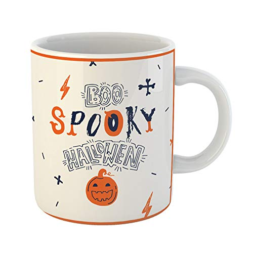 Emvency Coffee Tea Mug Gift 11 Ounces Funny Ceramic Abstract Hallowen Typograhy Creative Signs Bat Boo Gifts For Family Friends Coworkers Boss Mug