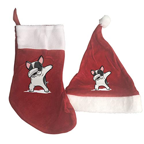 Pied Bulldog French (QiiRy Funny Dabbing Pied French Bulldog Dog Personalized Santa Stockings and Xmas Hat Gifts Set)
