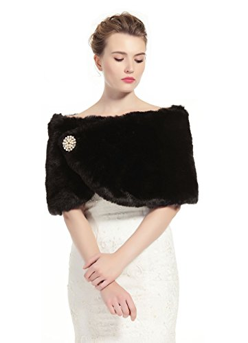 Faux Fur Wrap Shawl Women's Shrug Bridal Stole for Winter Wedding Party Free Brooch Black (Shawl Black Fur Formal)