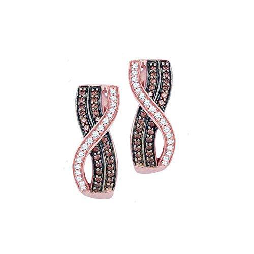 Jewel Tie Solid 10k Rose Gold Round Chocolate Brown Diamond Vertical Crossover Stripe Hoop Earrings (1/2 - Chocolate 0.5 Ct