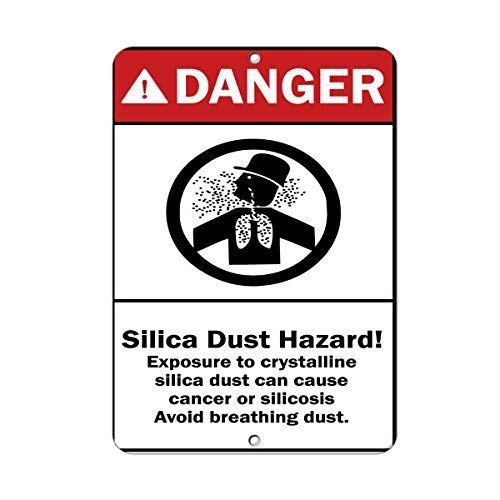 Kent Sparks Special Warning! Danger Silica Dust Hazard! Cause Cancer Avoid Breathing Dust Aluminum Metal Sign Tin Sign .16 x 12 inch Tin Sign