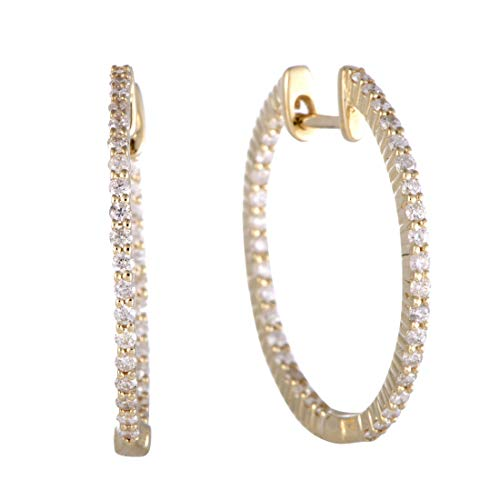 - .75ct 14K Yellow Gold Full Diamond Pave Inside Out Hoop Earrings