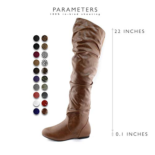 Women's Fashion Heel Flat Low Hi Slouchly Boots the Shaft DailyShoes Thigh Pu Tan High Over Knee RUd1U5nqB