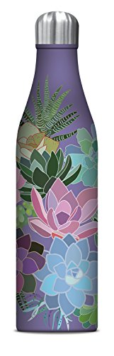 Studio Oh! 25 oz. Insulated Stainless Steel Water Bottle Available in 8 Different Designs, Mia Charro Succulent Paradise Lavender