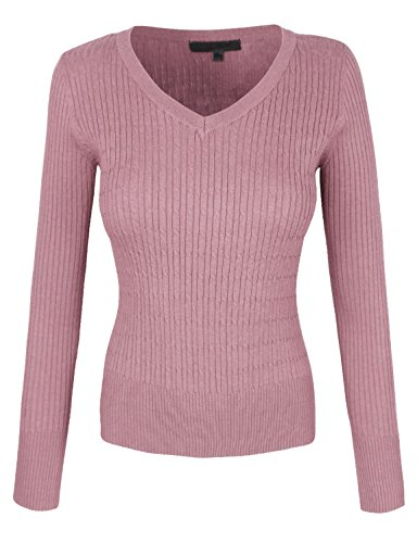 makeitmint Women's Basic Round V-Neck Twisted Cable Knit Pullover Sweater [S-3XL] 2XL YISW0001_21BLUSH -