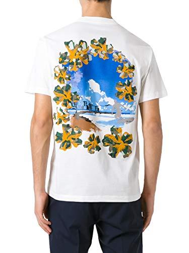 (Prada Men's White Cotton Jersey Postcard Surf Print Crew Neck T-Shirt, White, XL)