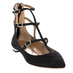 """Black Suede with pointed toe. Strappy Cage cutouts with 3 buckles on side for adjustment. Zipper on back of heel. .5"""" metallic gold heel. Brand new in box, never worn. Comes in original packaging with box and dust bag."""