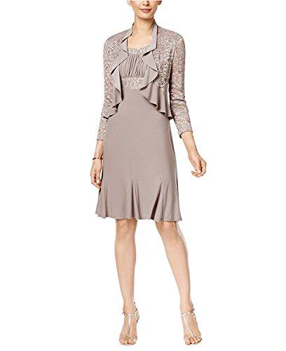 RM Richards Womens Sequin Lace Ruffle Front Jacket Dress (6, Mocha) (Ruffle Front Dress)