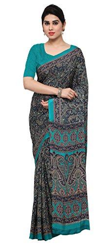 Rajnandini Women's Crepe Silk Printed Saree(JOPLEI1002_Multicolor_Free Size) (Crepe Silk Saree)