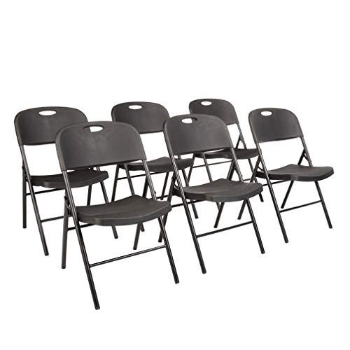 AmazonBasics Folding Plastic Chair, 350-Pound Capacity, Black, Set of 6
