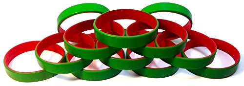 [1 Dozen Multi-Pack Green ColorSpray on Red Wristbands Bracelets Silicone Rubber - Christmas Holiday Themed (Green on Red, Adult (8