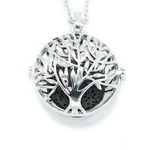 Sier Tree of Life Aromatherapy Perfume Essential Oil Diffuser Necklace Locket with Lava Stone (Black) (Sier Oil)